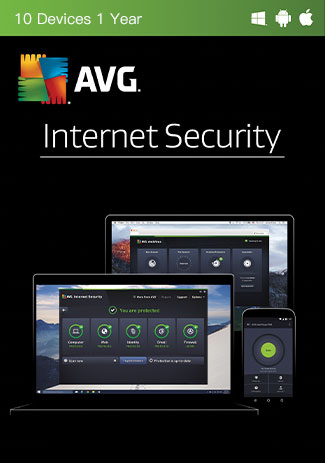 Official AVG Internet Security Multi Device - 10 Devices - 1 Year