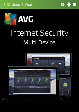 Official AVG Internet Security Multi Device - 3 Devices - 1 Year