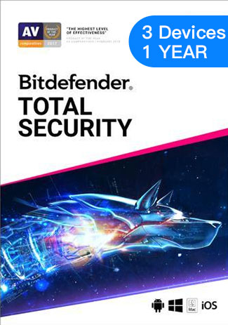 Official Bitdefender Total Security - 3 Devices - 1 Year (EU)