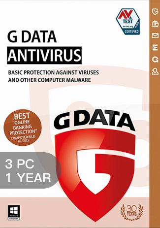 Official G Data Antivirus - 3 PCs - 1 Year (Windows Only)