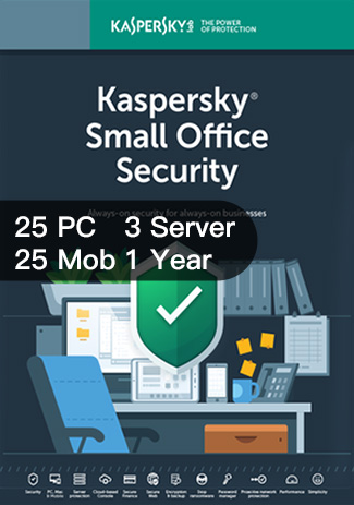 Official Kaspersky SMALL Office Security Version 6 - 25PC+25Mob+3Server / 1 Year