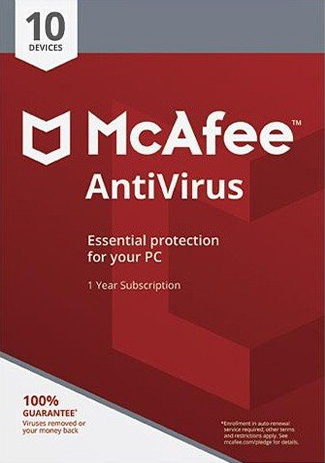 Official McAfee Antivirus  - 10 PC / 1 Year