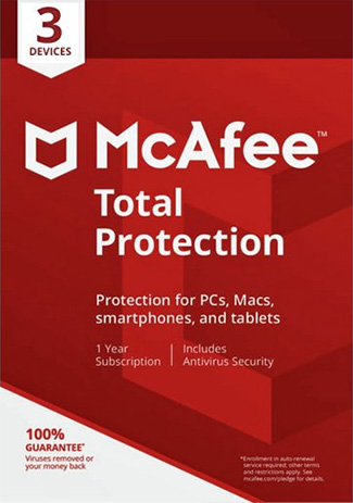 Official McAfee Total Protection -  3 Devices - 1 Year (Account)