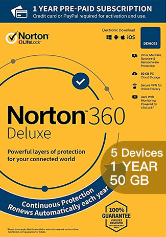 Official Norton 360 Deluxe - 5 Devices - 1 Year (50GB Cloud Storage)