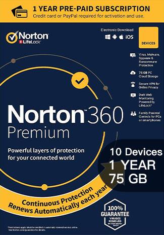 Official Norton 360 Premium - 10 Devices - 1 Year (75GB Cloud Storage)
