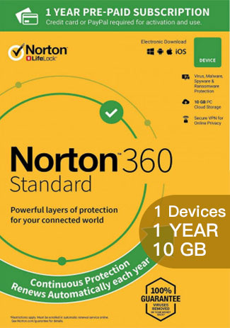 Official Norton 360 Standard - 1 Device - 1 Year (10GB Cloud Storage)