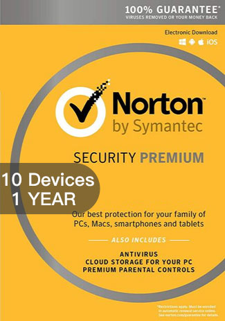Official Norton Security Premium 3 - 10 Devices - 1 Year