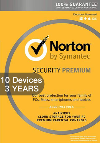 Official Norton Security Premium 3 - 10 Devices - 3 Years