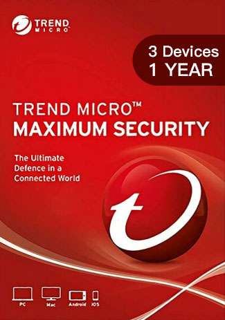 Trend Micro Maximum Security - 3 Devices - 1 Year