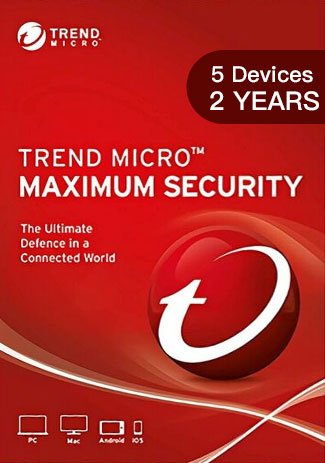 Official Trend Micro Maximum Security - 5 Devices - 2 Years