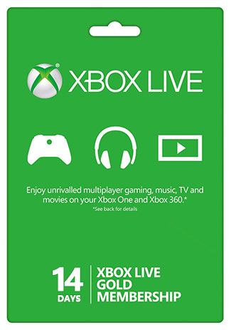 Official Xbox Live 14 Days Gold Membership Trial Card