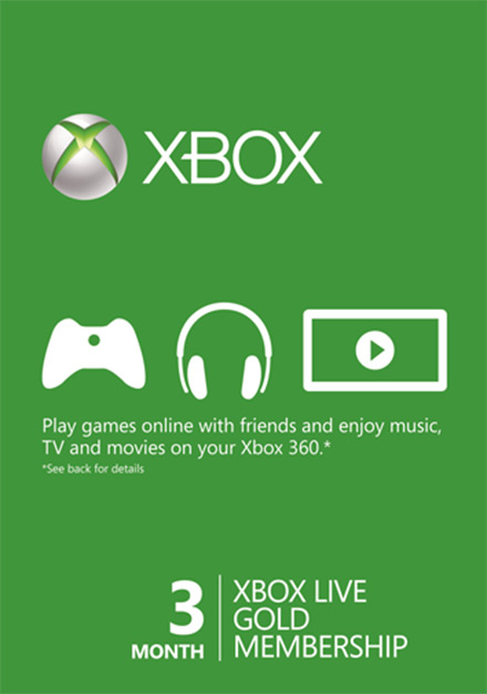 Microsoft Xbox Live 3 month Gold Subscription Card [Xbox 360/Xbox One]